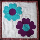 doll quilt blue purple heart flowers handmade 14 inches by 14 inches