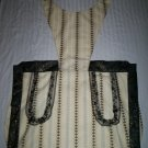 bib apron cream with black lace hand created