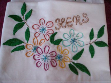 monogramed hers and hers pillowcases wild flowers with bead work embroidered