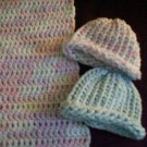 preemie crochet blanket plus 2 knitted winter hat handmade