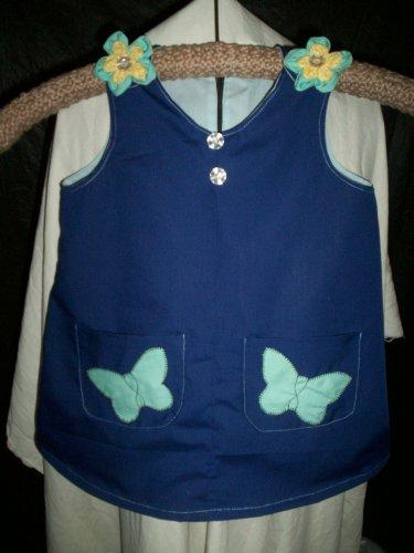 toddler sundress or top dark blue teal flowers and butterflies light blue lining size 2T handmade