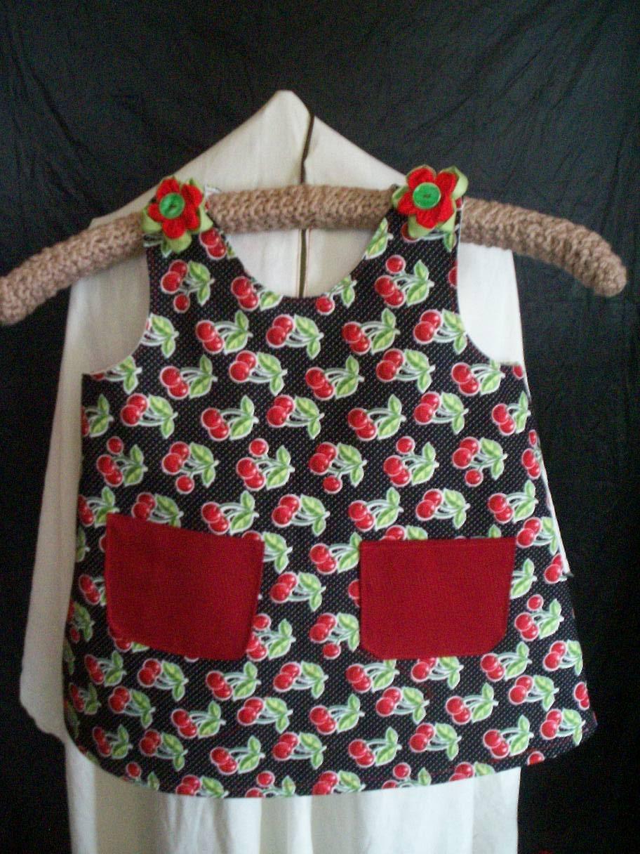 toddler sundress or top cherry's on black size 2T handmade