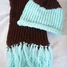 child's knitted hat and scarf set coco brown sparkly baby blue handmade