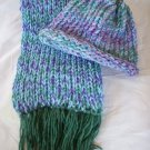 child's knitted hat and scarf set green lavender blue handmade
