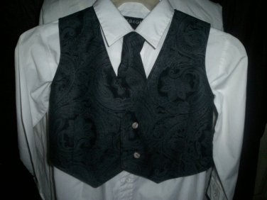 boy's vest and tie combo gray paisley on black handmade black back
