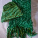 child's knitted hat and scarf set spring green blue green olive green handmade