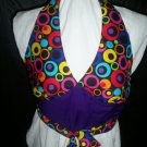 size 12 halter top miss teen colorful circles on black  handmade
