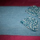 preemie steel blue crochet blanket plus 2 knitted winter hat handmade