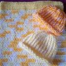 preemie multi color crochet blanket plus 2 knitted winter hat handmade