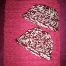 preemie crochet blanket plus 2 knitted winter hat rose burgundy white handmade