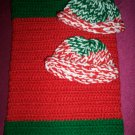 preemie Christmas green and red crochet blanket plus 2 knitted winter hat handmade