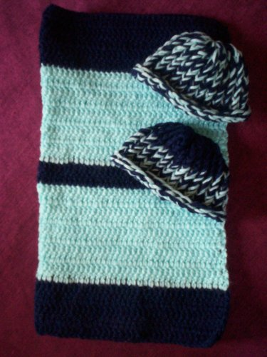 preemie navy blue baby blue crochet blanket plus 2 knitted winter hat handmade