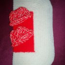 preemie white and red crochet blanket plus 2 knitted winter hat handmade
