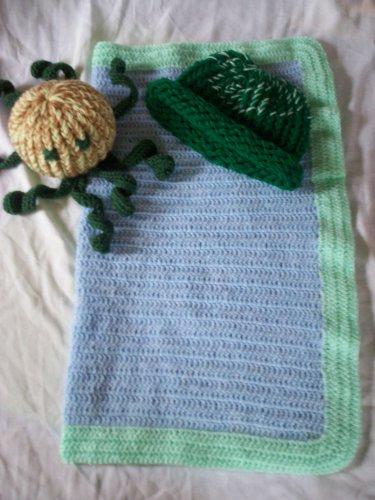 preemie crochet blanket plus 1 knitted winter hat toy octopus handmade