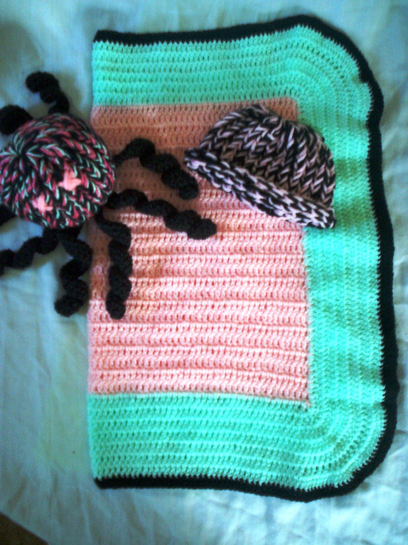 Crochet Preemie Blanket Plus 1 Knitted Winter Hat Toy Octopus Handmade