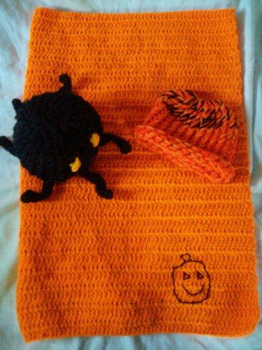 halloween crochet preemie blanket plus 1 knitted winter hat toy spider handmade