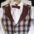 vest bowtie set boy brown plaid handmade size medium