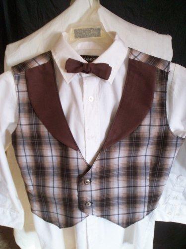 vest bowtie set boy brown plaid handmade size medium