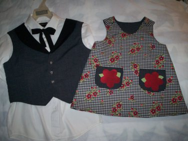 brother sister matching outfit gray vest gray red flower dress black lining