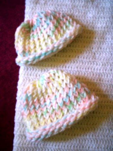 preemie white pastel edging baptism gift crochet blanket plus 2 knitted winter hat