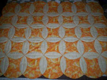 "handmade less than traditional circle throw quilt 5' 2"" x 3' 9"" retro orange and cream"