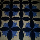"lap quilt less than traditional blue water lily 4' 4"" by 3' 8"" handmade"