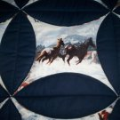 "circle throw lap quilt handmade 60""x 47"" wild horses and dark blue"