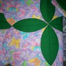 """circle throw quilt in the garden sparkling butterflies 59"""" x 46"""" handmade"""