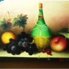 OIL PAINTING ON CANVAS - BOTTLE OF WINE & FRUIT