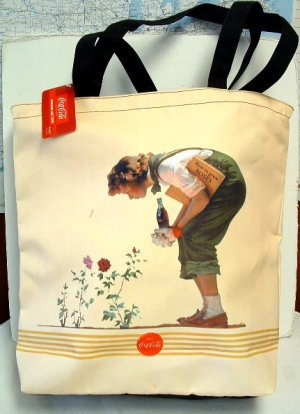 Coke Vintage Art Design Lg Tote Bag - New w/Tags