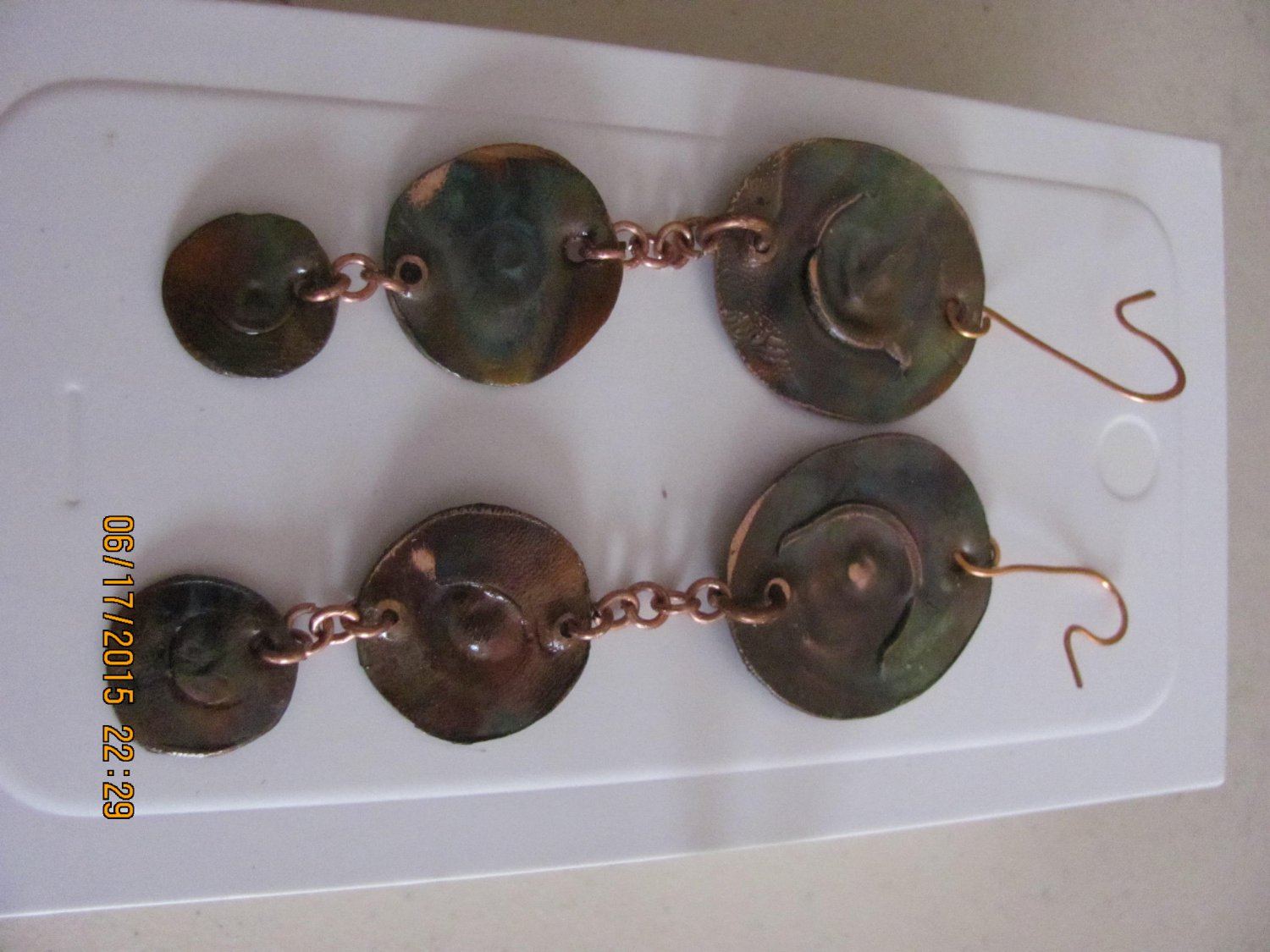 Hand Crafted Flame Colored Copper Earrings