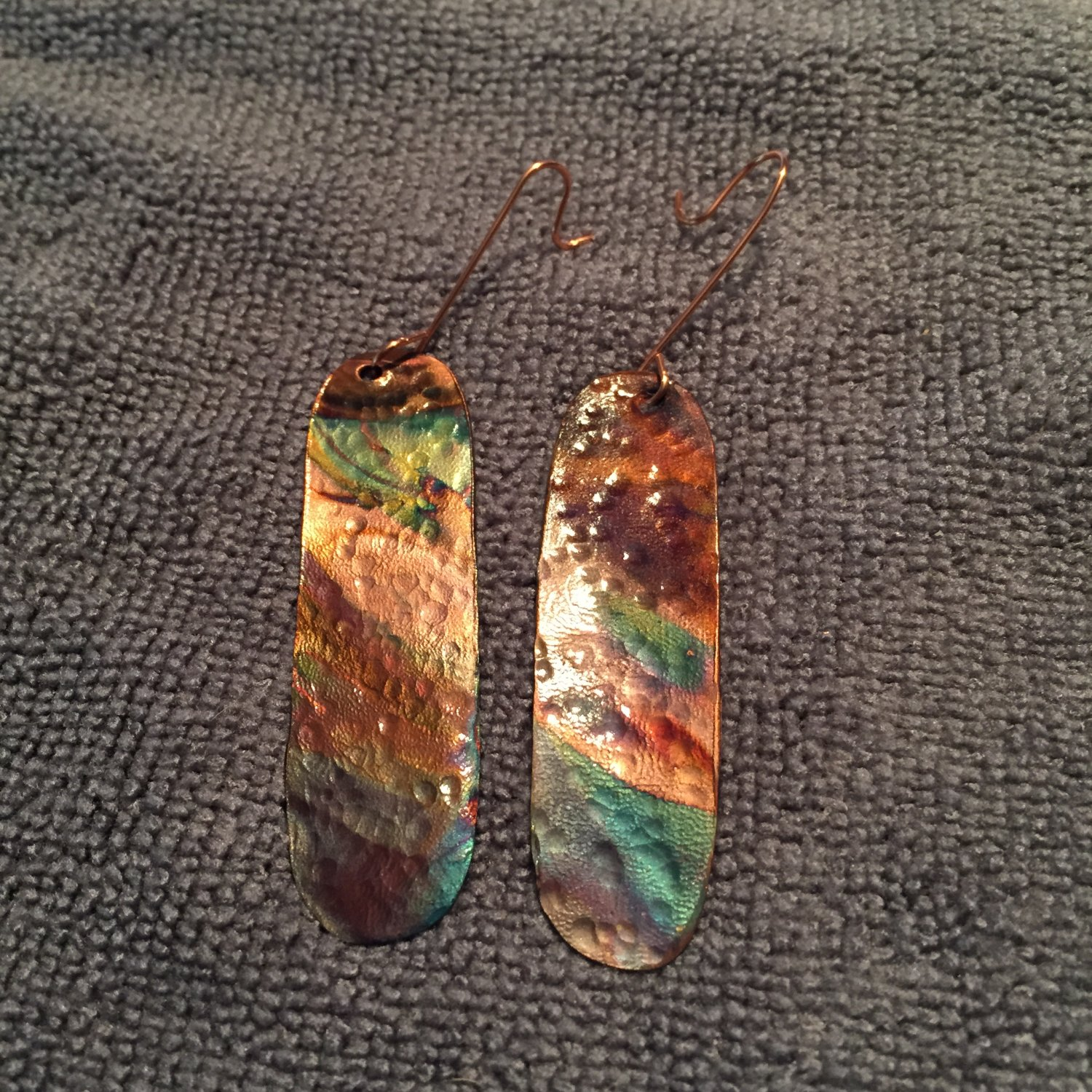 Copper Hand Crafted Flame Cored Earrings