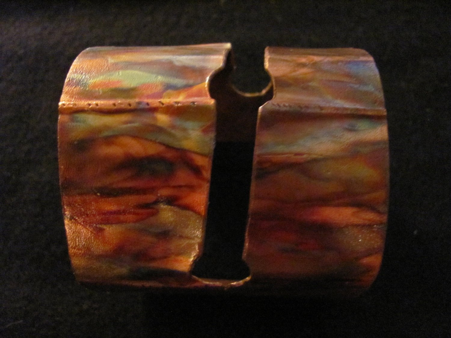 Copperworks Hand Crafted Flame Colored Copper Bracelet cuff