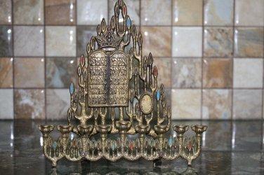 Judaica Vintage Hanukkah Jewish Brass Bronze Menorah Israel Holy Land Export Z