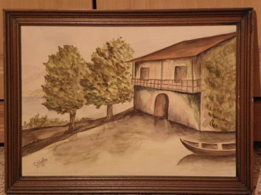 Original Watercolor Painting Signed with Wooden Frame