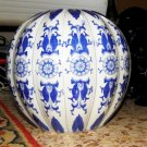 "Antique Porcelain China Large Bowl Blue Cobalt White Mandarin Shape Rare 8"" x 9"""