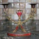 Judaica Vintage Jewish Brass Bronze Menorah Israel Holy Land Shabbat Kodesh RARE