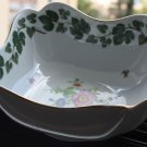 Vintage Hutschenreuther Floral Porcelain Square Serving Bowl Gold Rim Germany