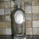 Vintage Display Decanter Carafe with Stopper Clear Glass and Metal Superb 12.5""