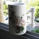Large Porcelain Beer Soup Coffee Cup Mug White Glazed with Flowers Rare