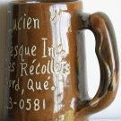 "Large Ceramic Beer Soup Coffee Cup Mug Brown Glazed Signed 600ml 5.5"" Rare"