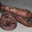 "Large Vintage Hand Carved Wooden Cannon - 1960s - Spain 14"" Decorative Excellent"