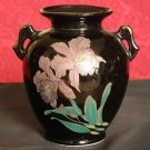 Pottery Ceramic Black Vase With Gold and Flowers SHIRAKABA MADE IN JAPAN Beauty