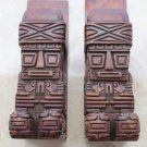 Antique Aztek Maya Hand Carved Book Ends Wood Wooden Art Heavy Excellent Rare
