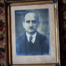 Antique Man Photo in Gilded Wooden Frame Glass and Ornate Brass Corners 17""