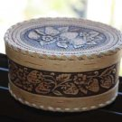 Vintage Russian Beautiful Birch Bark Trinket Jewelry Box Beresta Strawberry Rare