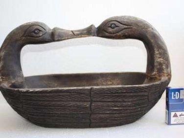 "Primitive Antique 18"" Wooden Hand Carved European Basket w/ Swan Handles 1800's"