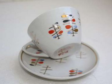 Set of 3 Porcelain Cup and Saucer Riga 60's Vintage Hand Painted Soviet PFF LFZ
