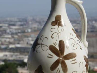 "Vintage Hand Painted Pitcher Decanter Carafe Jug Russian Porcelain Marked 10"""