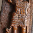 Antique Hard and Heavy Wood Carving Roman Warrior Figurine Primitive Wooden Art